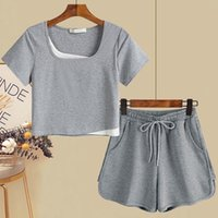 Women's Tracksuits Two Piece Summer T-Shirt Women Short Sleeve Sport Tops Tee And High Waist Casual Shorts Black White 2022 Sets