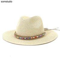 Summer Women Hats Solid Belt Band Western Cowboy Casual Sun Straw Coffee Khaki White Black Beach Outdoor Wide Brim