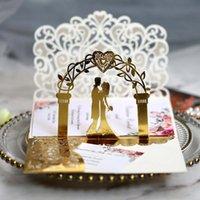 10 unids 3D novia y novio Corte láser Invitaciones de boda Tarjeta de encaje de bolsillo floral personalizar invitaciones tarjetas Impresión de compromiso Favor de saludo