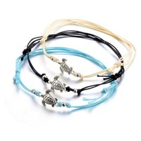 Summer Beach Turtle Shaped Charm Rope String Anklets For Women Ankle Bracelet Woman Sandals On the Leg Chain Foot Jewelry B377 440 T2