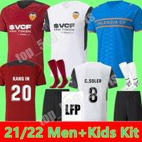 21 22 Valencia CF Futbol Formaları VCF Üçüncü 4. Jersey 2021 2022 Guedes Gameiro Camisetas De Fútbol Rodrigo M. Florenzi M.Gómez Erkekler Çocuk Kiti Futbol Gömlek Top Tayland