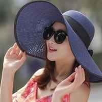 امرأة كاب خمر كبير بريم القش القبعات الشمس مرن واسعة bowknot قابلة للطي شاطئ بوهيميا دلو الصياد قبعة # C45