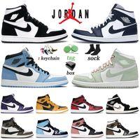 Avec Box Air Jordan 1 1s Retro Basketball Shoes University Blue High Seafoam Jumpman Sneakers Obsidian Twist Hommes Femmes Dark Mocha Trainers 36-46