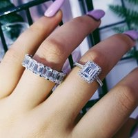 Cluster Rings Moonso Sterling Silver 925 For Women 2 Ct 2-Pc Princess Cut Wedding Engagement Jewelry Ring Set R4633