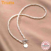 TrustDavis Lüks 925 Ayar Gümüş Moda Tatlısu Inci Geometrik Hexagon Kolye Kadınlar Için Anneler Günü Takı DB343