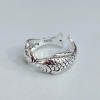 Cluster Rings 2021 Cute Animal Double Fish Open For Women Tibetan Silver Vintage Retro Womens Accessoires Punk Rock Ring