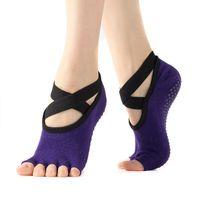 Нескользящие пять пальцев Йога носки женские ремни для балета Пилатес Барре Упражнения Танца Студия подарки Женщины Спорт