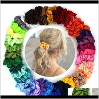 60 Colors Solid Women Satin Elastic Scrunchie Scrunchy Head Band Ponytail Hairbands Girls Rope Nxucl Tjlw8