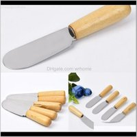Kitchen Knives Aessories Kitchen, Dining Bar Home & Gardenwooden Food Non-Stick Cake Knife Butter Spatula Handle Stainless Steel Cheese Desse