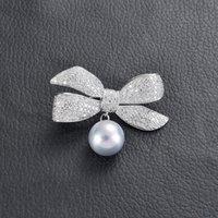 핀, 브로치 빈티지 활 빈티지 활 매달려 백인 눈물 진주 브로치 핀 여성을위한 귀여운 쥬얼리 라인 석 브로닥 Femme Bijoux