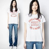 Hohe qualität mode mens designer neue französische niche zv frauen klassische Brief drucken Baumwollschlitz frauen Baumwolle Kurzarm T-shirt Größe xs ~ l