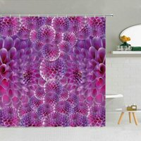 Shower Curtains Purple Flower Ball Creative Curtain Spring Colored Floral Bathroom Decor Accessories Waterproof Fabric Hooks Set