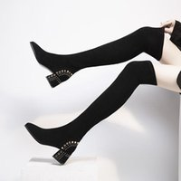 Boots Women Slip On Thick High Heels Over-the-knee Party Sexy Knee Shoes Fashion Western Winter