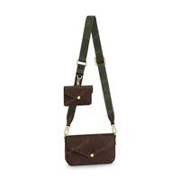2021 حقيبة الصليب الجسم متعددة pochette النساء 3in1 حقائب crossbody الكتف حقيقي جلد حقيقي حقيبة يد الفليسي حزام الذهاب 80091 مع مربع سلسلة محافظ # fgo-01