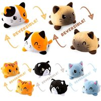 Creative Reversible Flip Cat Plush Doll Stuffed Toy Soft Home Accessories Cute Animal Children Gift Toys