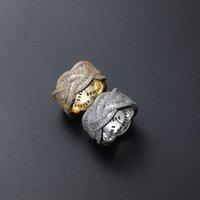 Anello da uomo Hip Hop Iced Out Zircon Icy Round Cluster Gold argento placcato Bling Gioielli regalo