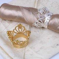 50 PCS Crown Sandkin Bague avec boucle de serviette de diamant exquis de serviettes de serviettes pour l'hôtel Decoration de table de mariage DAR106