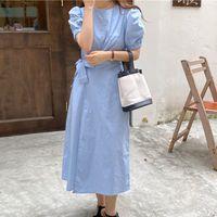 Casual Dresses Hzirip summer feminine blue dress long elegant neck-neck close casual waist femme pure color prom robe fashionable cotton 5NHQ