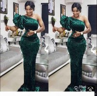 Elegant Green One shoulder Mermaid Evening Dresses Velet Floor Length Custom Made South African 2019 Prom Dresss VEstido De Festo