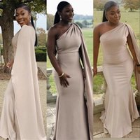 2021 African Evening Dresses Wear Mermaid Nude Champagne One Shoulder With Cape Formal Party Prom Gowns Bridesmaid Dress Plus Size Sweep Train Elastic Satin
