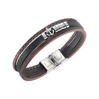 Кожаный браслет для мужчин многослойной вязать якорь из нержавеющей стали черный коричневый рука бренд панк ювелирные изделия мальчики подарки