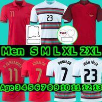 20 21 Ronaldo Soccer Jerseys 2021 국가 대표팀 Joao Felix Bernardo B.FERNANDES 홈 팬 버전 Camisa de Futebol 남자 키트 풋볼 셔츠