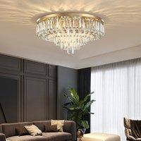 50cm 60cm 80cm 100cm modern  clear crystal led ceiling light round gold flush mount chandeliers lighting for villa foyer bedroom study room decoration