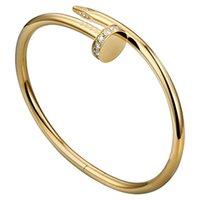 Tırnak Bilezik Erkekler Aşk Bilezikler Diamonds Tasarımcı Bileklik Lüks Takı Titanyum Çelik Alaşım Altın Kaplama Zanaat Altın Gümüş Gül Asla Kaybolmaz Alerjik Değil