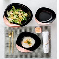 Creativo lindo rosa negro cerámico de cerámica fruta placa de ensalada el servicio bandeja mesa decoración de mesa suministros de cocina suministros cuencos