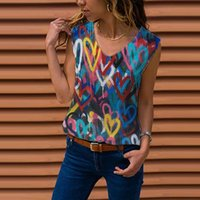 Women's T-Shirt Summer Lady Tshirt Floral Color Printing Casual Loose Woman Tshirts V Neck Sleeveless Clothes Tops For Women Blusa Feminina