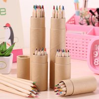 12 색 드로잉 연필 나무 그림 펜 어린이 컬러 연필 크래프트 종이 튜브 DHL 무료 W0084