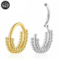 D23 Titanium Nose Ring Gold Hoop Ball Hinged Segment Ear Cartilage Tragus Helix Lip Septum Clicker Piercing Rings Jewelry