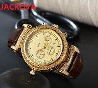 Two Sides Wearing Quartz Watches Sapphire week calendar men clock Leather Buckle Classic Wristwatches reloj de lujo