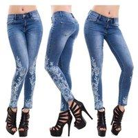 Женщины Blue High Tift Leggings Джинсы Напечатанные Стремянные Спортивные Брюки Карандаш Брюки Дробия Спортивные штаны Карманные Брюки Мода S-5XL