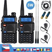 2pcs Real 8W UV-5R Walkie Talkie UV 5R High Power Amateur Ham CB Radio Station UV5R Dual Band Transceiver 10KM Intercom
