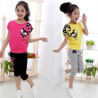 Girl Short Sleeve Casual Pants Kids Clothing Suits Cartoon Print Children Sets For Set 4 14 Ages Teensch