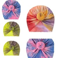 Krawatte gefärbte Farben Drucken Neugeborene Baby Caps Kinder Jungen Mädchen Donut Elastic Pullover Indische Kappe Kopfband Infant Outdoor Hut G697G0H