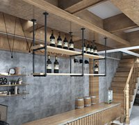 "DIYHD 37"" Ceiling Mount Black Storage Shelf 2 Pairs U Shape Pumbing Pipe Bracket for Kitchen(No Planks)"