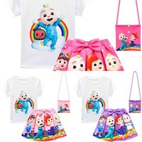 Sommer Mädchen Kokomelon Cartoon Gedruckt Trainingsanzug Kinder Kurzarm T-Shrit + Rock + Tasche Drei Stück Anzug Baby Jungen Nette Outfits G52Wert