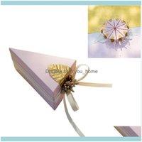 Evénement cadeau Evénement Festive Party Fournitures Accueil Garden5PCS Triangle Creative Cake Cake Boîte de rangement Présente Caisse de stockage de bonbons pour festival d'anniversaire de mariage