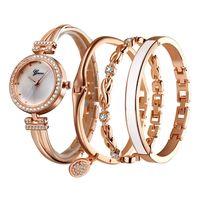 Hot Selling Luxury 4 Pieces Set Womens Watch Diamond Fashion Quartz Watches Ladies Wristwatches Bracelets