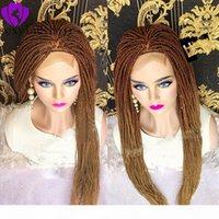 Neue Mode Ombre Blonde Flechte Haar Synthetische Spitze Frontperücken Für Frauen Hitzebeständige Faserhaarperücken Premium Full Braid Perücke Für Frauen