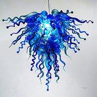 Sarkıt çiçek şekli mavi yeşil kristal avizeler çağdaş el üfleme cam avize aydınlatma led ampuller yatak odası ev dekorasyon ışıkları-L
