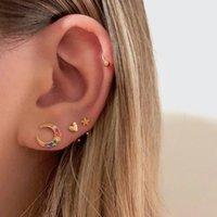 Stud ELESHE 925 Sterling Silver Rainbow Zircon Moon Earrings For Women Piercing Luxury Crystal Fine Jewelry Wedding Accessories
