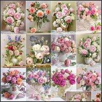 Paintings Arts, Crafts Gifts & Gardenevershine Painting Flower 5D Diy Diamond Embroidery Peony Rhinestone Picture Cross Stitch Rose Fl Squar