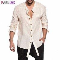Moda Düzensiz Pamuk Keten Gömlek Erkekler 2020 Marka Bantlı Yaka Erkek Elbise Gömlek Düğme Aşağı Rahat Rahat Chemise Homme V93D #