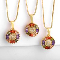 Pendant Necklaces Rainbow Gold For Women Micro Pave Colorful CZ Zirconia A-Z Initials Letter Fashion Jewelry Nke-p34