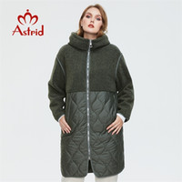 Astrid Kadın Sonbahar Kış Ceket Faux Kürk Tops Moda Dikiş Aşağı Ceket Kapşonlu Artı Boyutu Parkas Kadın Ceket AM-7542 211015