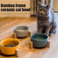 40 # Haustier Keramik-Overhead-Katzenschüssel Holzregal Kleine Fütterung und Trinkschalen für Hunde Katzen-Feeder-Feeder