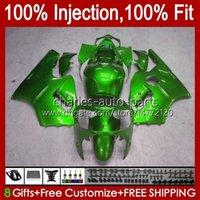 Injection mold Bodys For KAWASAKI NINJA ZX-12R ZX1200 C ZX 12 R 1200 CC ZX12R 00 01 Bodywork 2No.57 ZX 1200 12R 1200CC 00-01 ZX1200C 2000 2001 OEM Fairing Kit full green blk
